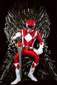 red ranger sitting iron throne game thrones