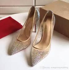 wedding shoes kg high heels rhinesto wedding shoes women genuine leather pointed