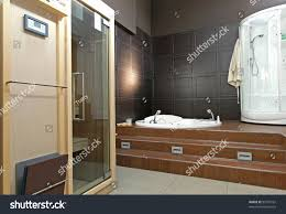 modern bathroom interior sauna hydro massage stock photo 97503161