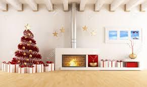 Christmas Livingroom White Living Room With Fireplace And Christmas Tree The Art