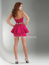 hourglass apple lace up strapless fuchsia satin a line collections