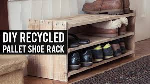 Build A Shoe Storage Bench by Diy Pallet Shoe Rack Youtube