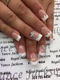 rhinestone nail art french manicure french tip nails everyday