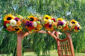 White Curtains With Yellow Flowers Wedding Flowers Ideas Natural Simple Arch Wedding Flowers