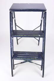 industrial vintage metal step ladder steampunk folding 2 step blue