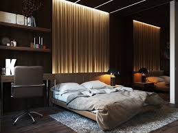 bedroom grained wood platform bed integrated with wood paneled