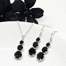 prom jewelry black 3 pendant necklace prom jewelry set swarovski two be