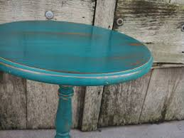teal accent table rustic teal side table accent table shabby chic decor pedestal