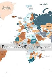 printable world map a1 printable large world map download 3 panel orange blue