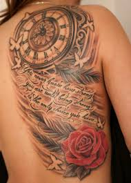latest simple 3d clock and nice rose flower tattoo on back
