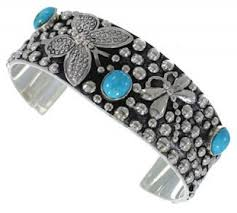 southwest jewelry dragonfly and butterfly turquoise silver cuff