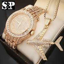 diamond necklace gift images New men hip hop iced out lab diamond watch airplane pendant necklace jpg