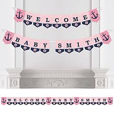 Nautical Themed Baby Shower Banner - ahoy nautical baby shower theme bigdotofhappiness com