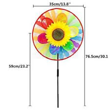 2x rainbow flower windmills whirligig wheel garden yard ornament