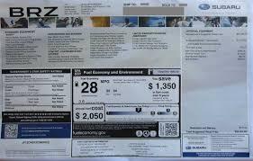 subaru window decals 2013 monroney window stickers subaru brz xv crosstrek outback