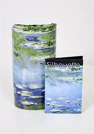 Acrylic Flower Vases Waterlilles Blue Ceramic Museum Flower Vase By Monet 7 5h For Sale