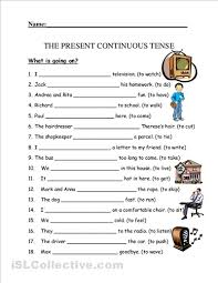 ideas of present continuous tense worksheets for grade 3 with