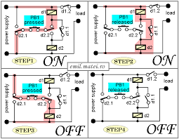 emil matei on off switch using 2 relays four versions