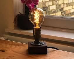 Edison Bulb Table Lamp Wood Block Lamp Edison Wood Lamp Table Lamp Desk Lamp 1