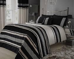 Black Bedding Beige Black Metallic Effect Quilt Duvet Cover Bedding Bed Set Wow