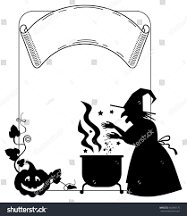 witch silhouette clipart silhouette frame witch preparing potion magic stock vector