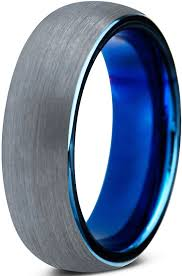 mens blue wedding bands tungsten wedding band ring 8mm for men women comfort fit blue