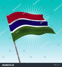 Gambia Flag Waving Gambia Flag Vector Drawing Illustration Stock Vector