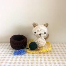 Wool Ball Rug Chibi Puppy Dog Kokeshi Amigurumi Doll With Rug Bone Ball