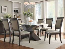 Espresso Dining Room Set by Ambrose 7pcs Modern Espresso Rectangular Glass Top Dining Room