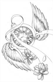 clock with wings and lotus tattoos drawing photos pictures and