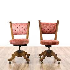 Upholstered Swivel Desk Chair This Pair Of Swivel Chairs Are Featured In A Solid Wood With A