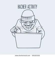 cartoon character hacking idea concept thief stock vector