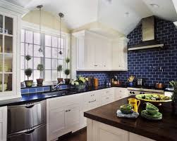 blue backsplash kitchen my 5 kitchens countertops ceilings and blue subway tile
