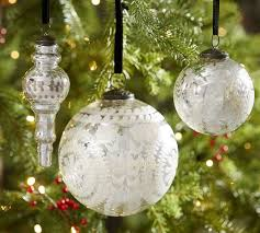 etched mercury glass ornaments silver pottery barn