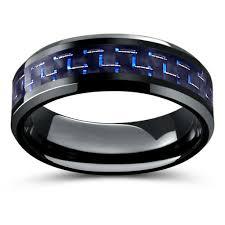 black titanium wedding band black titanium ring with blue black woven carbon fiber inlay