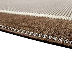 Easy To Clean Outdoor Rug Brown Beige Flatweave Border Wearing Easy Clean Large