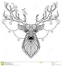 zentangle hand drawn magic horned deer for antistress colo