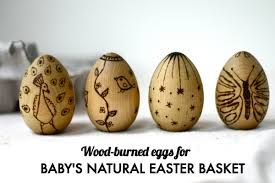 wooden easter eggs baby s easter basket wood burned eggs one part