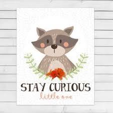 Raccoon Nursery Decor Printable Gift Stay Curious Nursery Wall Print Raccoon