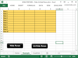 hide unhide rows in excel worksheet using vba examples and codes
