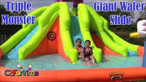 giant backyard water slide fun sizzlin cool triple monster water