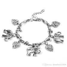 fashion jewelry charm bracelet images 2018 retro elephant heart charm bracelet ancient silver women jpg