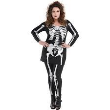 Womens Skeleton Costume Bare Bone Skeleton Costume Plus Size Halloween Shivers