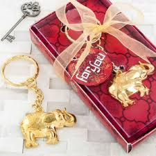 keychain favors gold metal luck elephant key chain favors