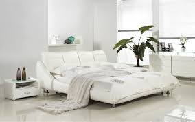 Leather Headboard Queen Bed by White Leather Headboard With Eco Leather Match Rails Queen Bed By