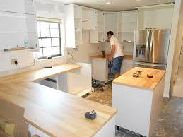 Replacing Kitchen Cabinet Doors With Ikea Red Oak Wood Chestnut Amesbury Door Installing Ikea Kitchen
