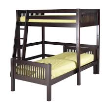 bedroom wooden l shaped bunk beds with black futon and dresser