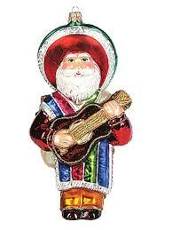 mexican santa claus blown glass ornament