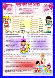 printable worksheets english tenses present perfect tense since for english language esl efl learn