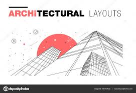 architectural layouts in trendy polygonal line composition u2014 stock